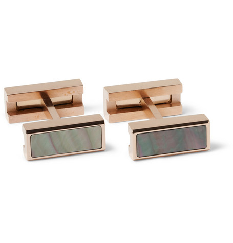 Alfred Dunhill Rose Gold-Plated Mother-of-Pearl Cufflinks