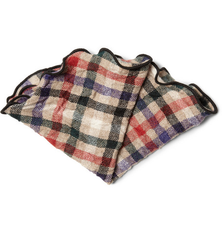 Alexander Olch Plaid Woven-Wool Pocket Round