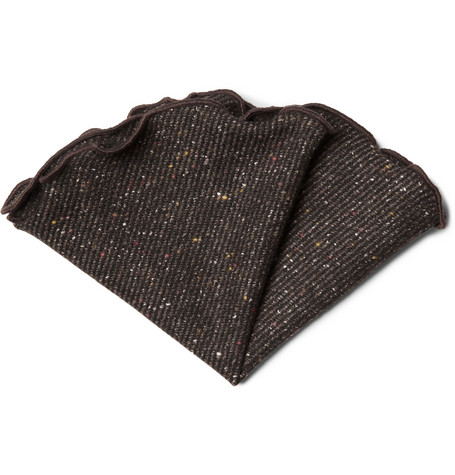 Alexander Olch Flecked Woven-Wool Pocket Round