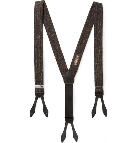 Alexander Olch Leather-Trimmed Woven-Wool Braces