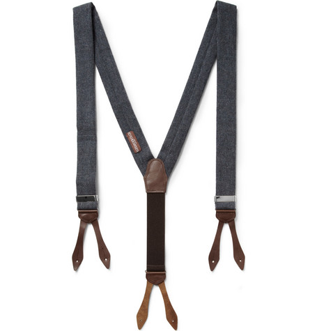 Alexander Olch Leather-Trimmed Wool Braces