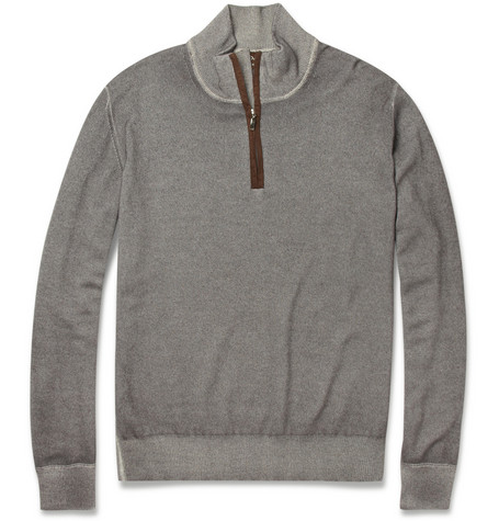 Doriani Zip-Collar Suede-Trimmed Cashmere Sweater