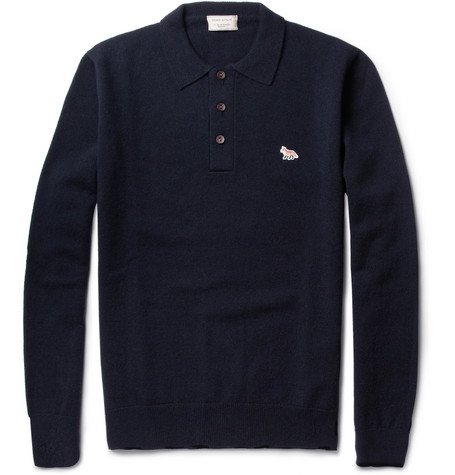 Maison Kitsuné Long-Sleeved Wool Polo Shirt