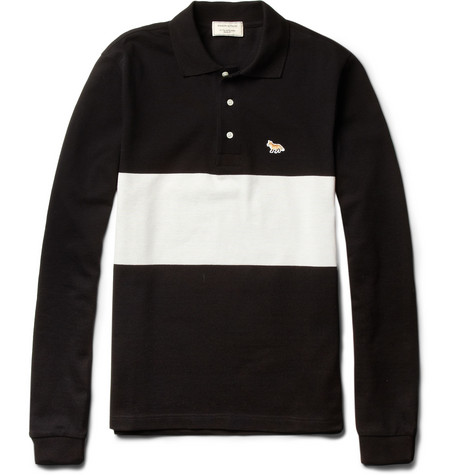 Maison Kitsuné Long-Sleeved Cotton-Piqué Polo Shirt