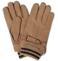 Dents Knitted-Cuff Nubuck Leather Gloves