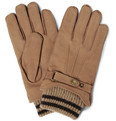 Dents - Knitted-Cuff Nubuck Leather Gloves
