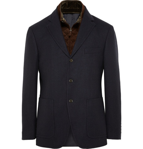 Faconnable Aspen Detachable Suede-Interior Herringbone Wool Blazer