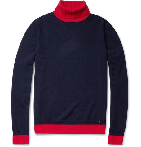 Faconnable Two-Tone Cashmere Rollneck Sweater
