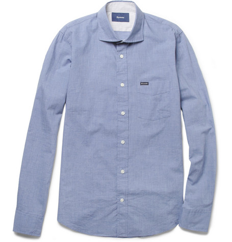 Faconnable Contrast-Elbow Patch Chambray Shirt