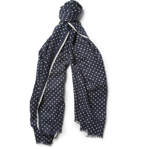 Faconnable Lightweight Polka-Dot Wool Scarf