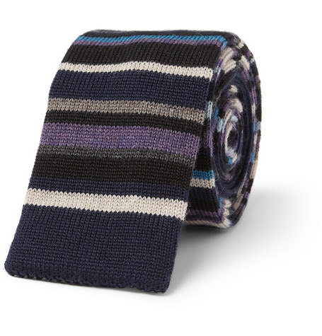 Paul Smith Shoes & Accessories Striped Knitted Wool Tie