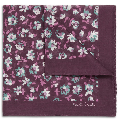 Paul Smith Shoes & Accessories Floral-Print Cotton Pocket Square