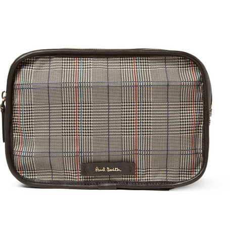 Paul Smith Shoes & Accessories Leather-Trimmed Prince of Wales Check Wash Bag