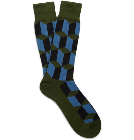 Paul Smith Shoes & Accessories Cube Cotton-Blend Socks