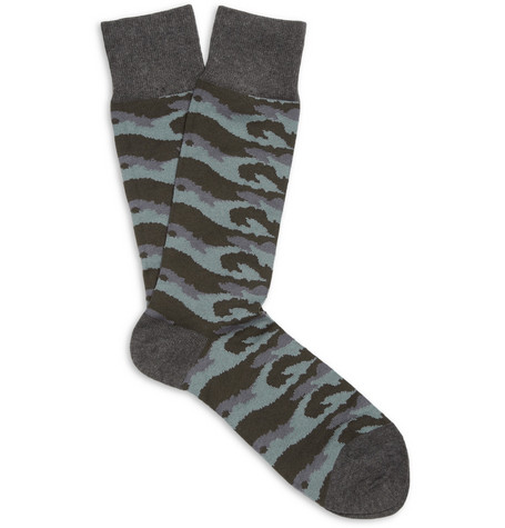 Paul Smith Shoes & Accessories Camouflage-Patterned Cotton-Blend Socks