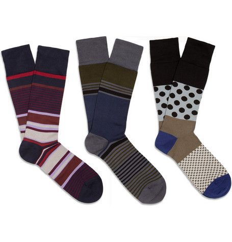 Paul Smith Shoes & Accessories Three-Pack Cotton-Blend Socks