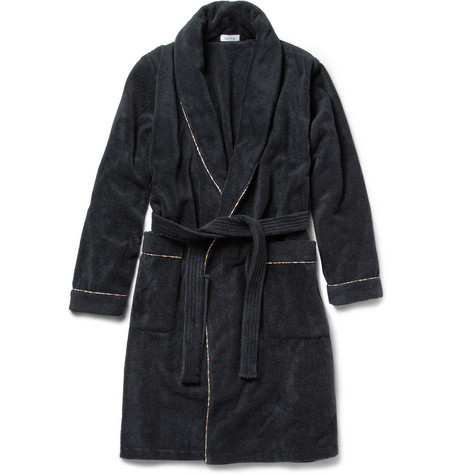 Paul Smith Shoes & Accessories Multi-Stripe Trimmed Cotton-Terry Bathrobe