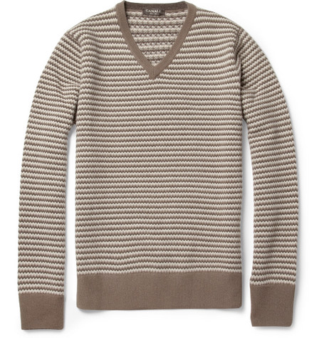 Canali Zigzag Merino Wool and Cashmere-Blend Sweater