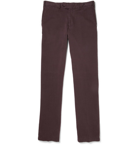 Canali Brushed Cotton-Blend Twill Trousers