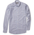 Canali Button-Down Collar Check Cotton Shirt