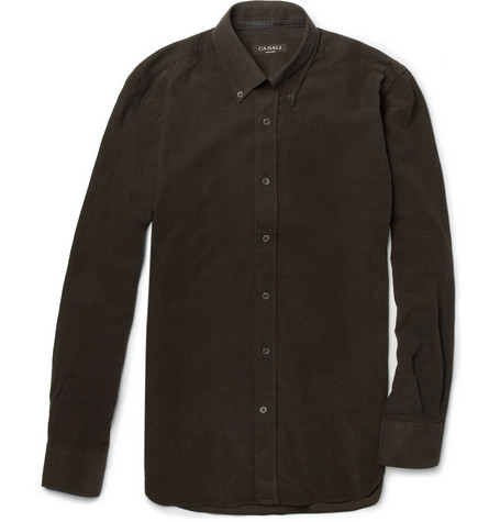 Canali Fine-Corduroy Button-Down Collar Shirt