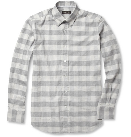 Canali Herringbone Check Cotton Shirt