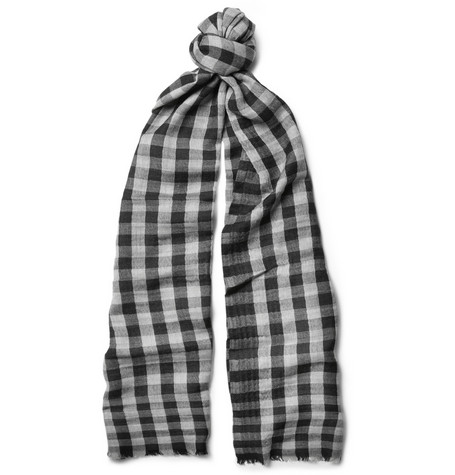Canali Check Wool and Cashmere-Blend Scarf