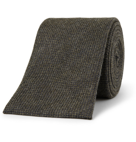 Canali Pin Dot Cashmere and Silk-Blend Tie