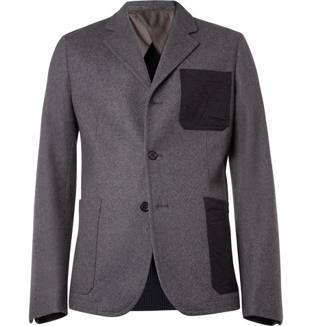 Marni Knitted-Back Wool-Blend Felt Blazer