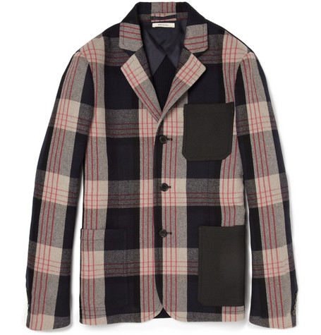 Marni Plaid Ribbed Cotton-Blend and Twill Blazer