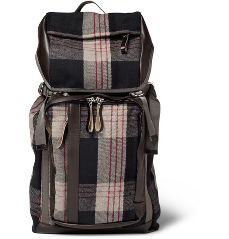 Marni Leather-Trimmed Plaid Flannel Backpack