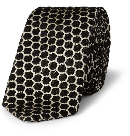 Marwood Slim Honeycomb Woven-Silk and Wool Tie
