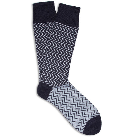 Corgi Zigzag Wool and Cotton-Blend Socks