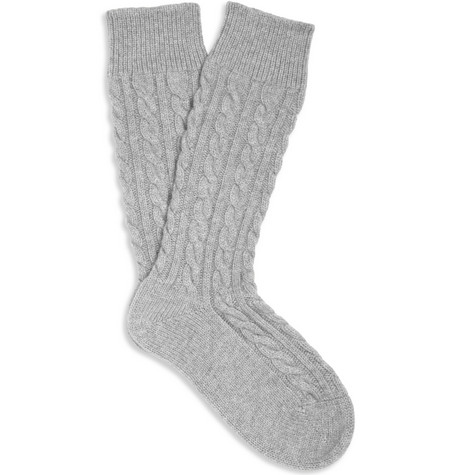 Corgi Cashmere Cable-Knit Socks