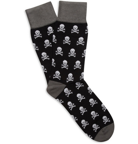 Corgi Skull-Pattern Cotton-Blend Socks