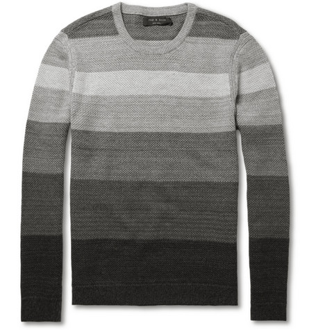 Rag & bone Zurich Striped Merino Wool and Cotton-Blend Sweater