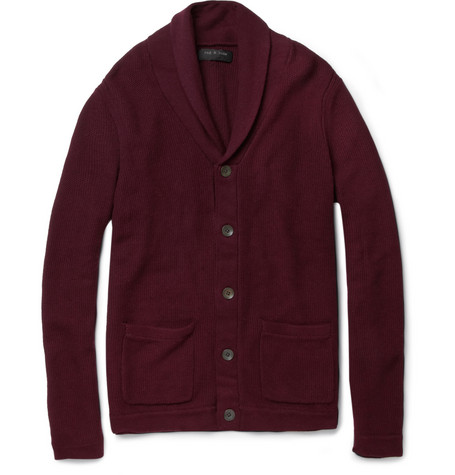 Rag & bone Avery Cotton and Merino Wool-Blend Shawl-Collar Cardigan