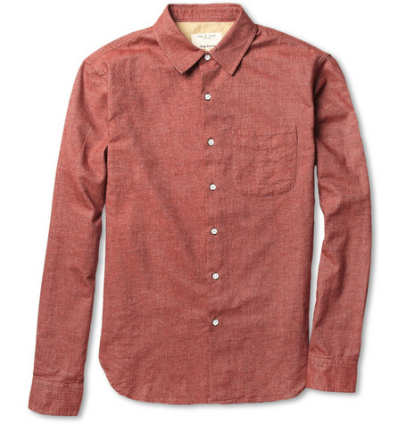 Rag & bone Herringbone Brushed-Cotton Shirt
