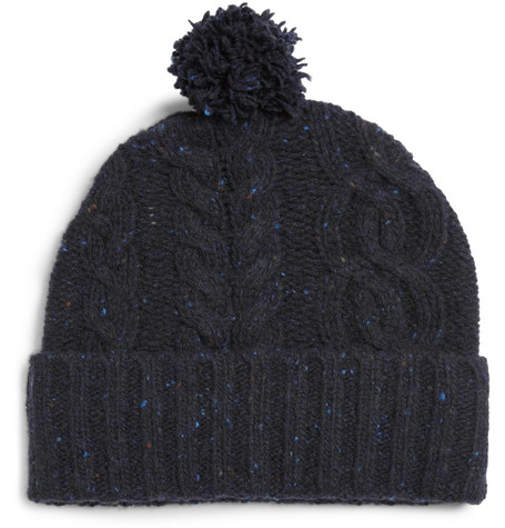 Rag & bone Cable-Knit Wool Beanie Bobble Hat