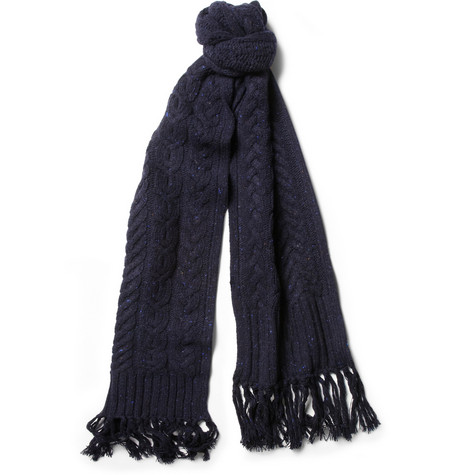 Rag & bone Flecked Cable-Knit Wool Scarf