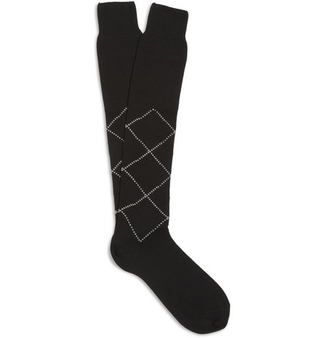 Bresciani Diamond-Pattern Knee-Length Cotton Socks