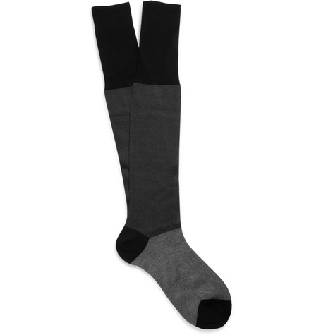 Bresciani Fine-Stripe Knee-Length Cotton Socks