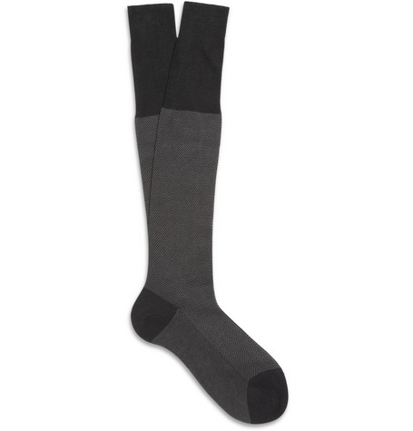 Bresciani Herringbone Cotton Knee-Length Socks