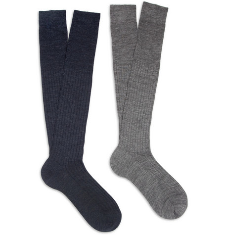 Bresciani Two-Pack Knee-Length Merino Wool-Blend Socks