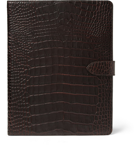 Smythson Crocodile-Embossed Leather iPad2 Case