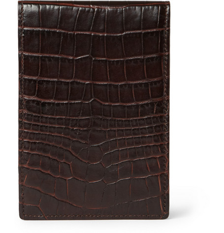 Smythson Crocodile-Embossed Leather Notepad