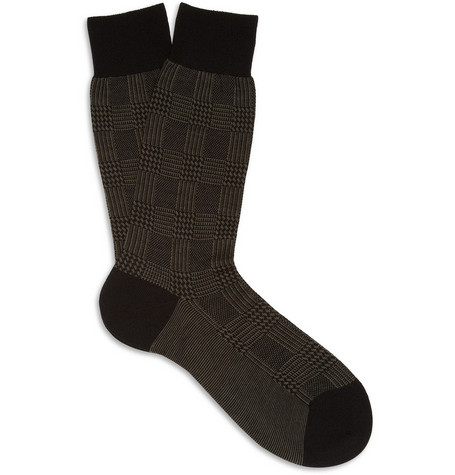 Pantherella Patterned Merino Wool-Blend Socks
