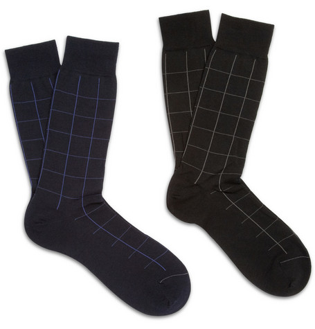 Pantherella Two-Pack Window Pane Check Wool-Blend Socks