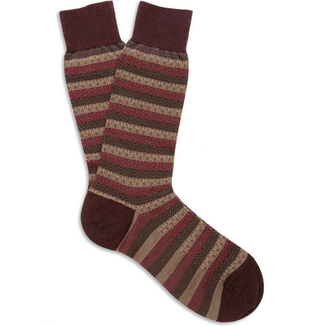 Pantherella Fair Isle-Pattern Merino Wool-Blend Socks