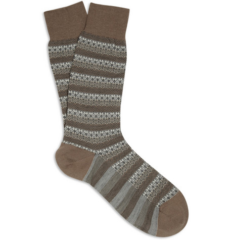 Pantherella Striped Fair Isle Merino Wool-Blend Socks